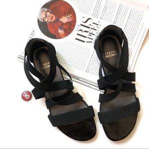 Stuart Weitzman Black Elastic Strappy Flat Sandal